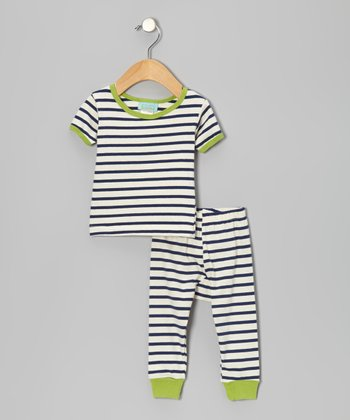 Navy & Cream Stripe Short-Sleeve Pajama Set - Infant