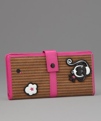 Pink Chic Monkey Large Wallet