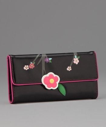 Black Sakura Large Wallet