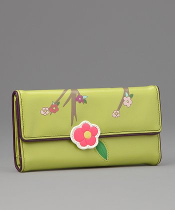Green Sakura Large Wallet