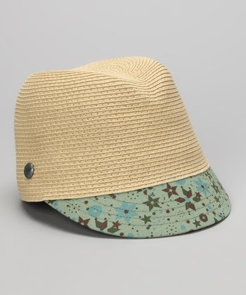 Natural & Blue Floral Hat