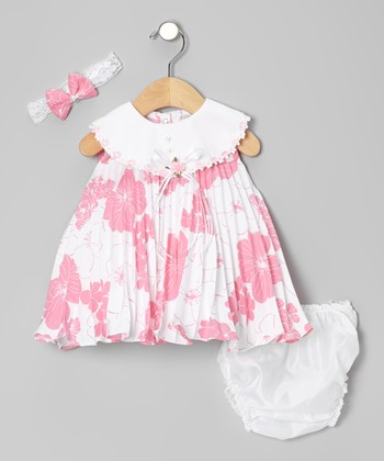 Hot Pink Floral Swing Dress Set - Infant