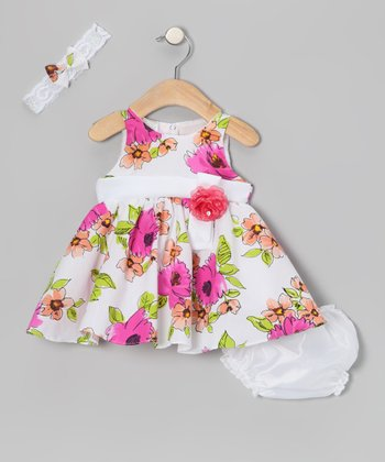 Fuchsia Floral Dress & Diaper Cover - Infant