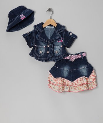 Pink Denim Tiered Skirt Set - Infant & Toddler