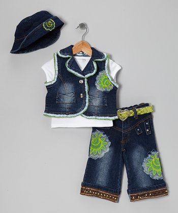 Blue & Green Straight-Leg Jeans Set - Infant & Toddler