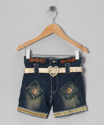 Blue Shimmer Denim Shorts - Toddler & Girls