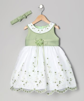 Sage Floral Yoke Dress & Headband - Toddler
