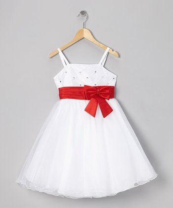 White & Red Bow Dress - Toddler & Girls