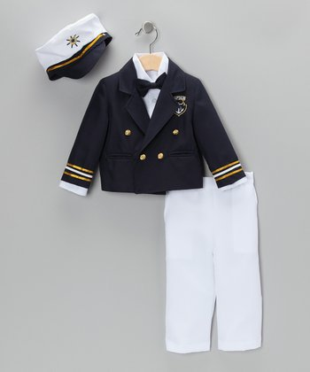 Navy & White Captain Pants Set - Infant, Toddler & Boys