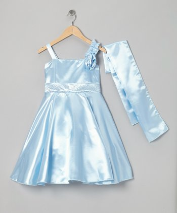Blue Rhinestone A-Line Dress & Wrap - Girls