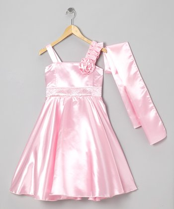 Pink Rhinestone A-Line Dress & Wrap - Girls