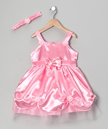 Pink Pick-Up Dress & Headband - Toddler