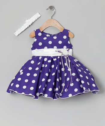 Purple Polka Dot Dress & Headband - Infant