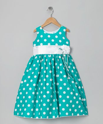 Green Polka Dot & Ribbon Dress - Toddler & Girls