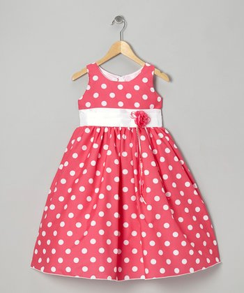 Pink Polka Dot & Ribbon Dress - Toddler & Girls