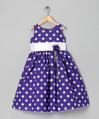 Purple Polka Dot & Ribbon Dress - Toddler & Girls