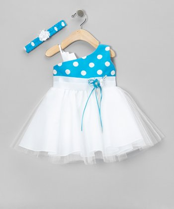 Turquoise Polka Dot Organza Asymmetrical Dress & Headband - Infant