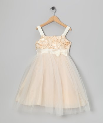 Champagne Flower Cut-Out Dress