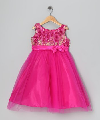 Fuchsia Rosette Tulle Dress