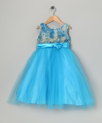Turquoise Rosette Tulle Dress