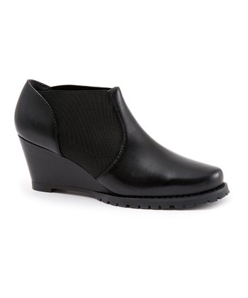 Black Leather Dartmouth Wedge Bootie