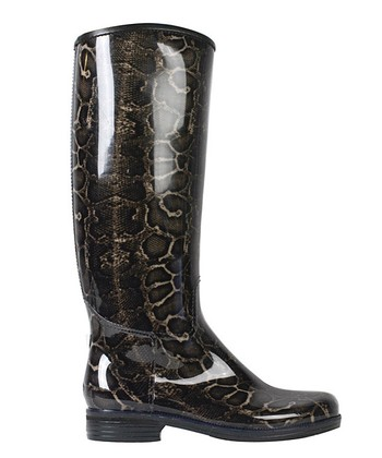 Brown Snake English Rain Boot -  Women