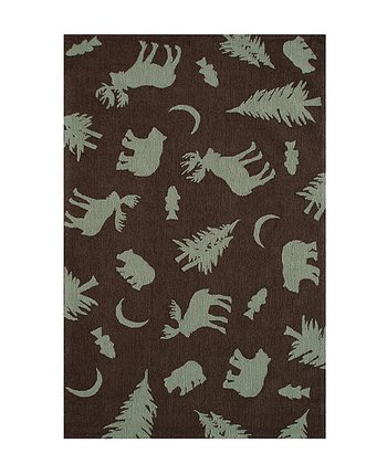 Brown & Green Bears Silhouette Rug