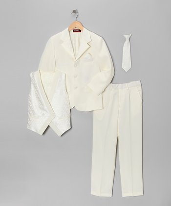Ivory Five-Piece Suit Set - Toddler & Boys