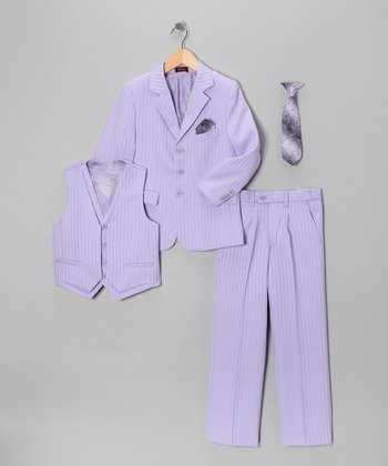 Lilac Five-Piece Suit Set - Boys