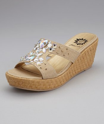 Natural Peony Wedge Slide