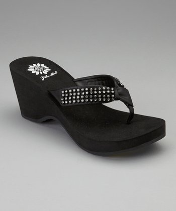 Black Sherry Wedge Sandal