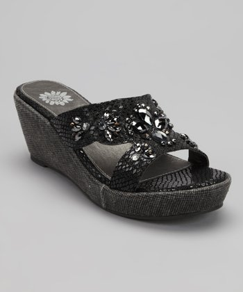 Black Ahava Wedge Sandal