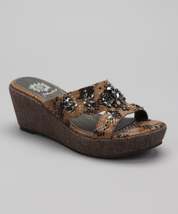 Brown Ahava Wedge Sandal