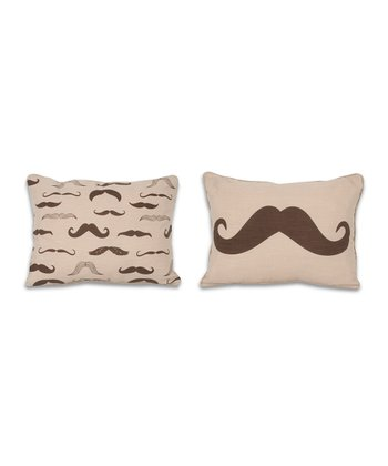 Coffee Bean Mustache Reversible Pillow