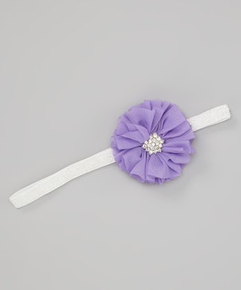 Purple Glitter Blossom Headband
