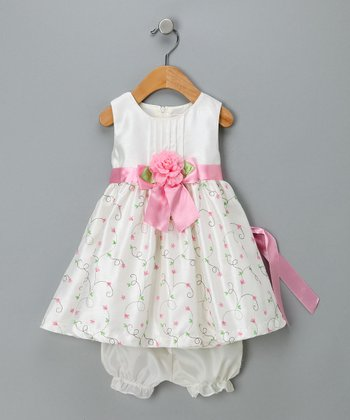 Ivory & Pink Floral Dress & Bloomers