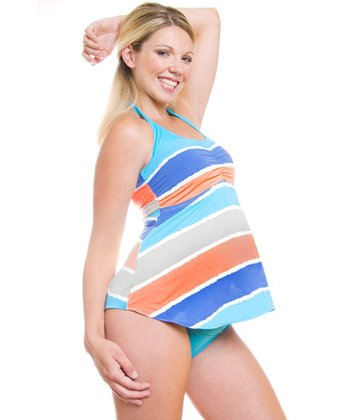 Blue & Green Mundaka Maternity Tankini Top