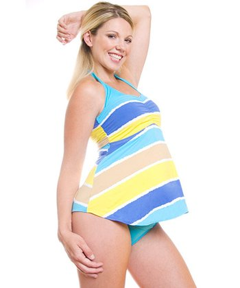 Blue & Yellow Mundaka Maternity Tankini Top - Women