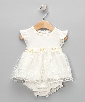 Ivory Embroidered Floral Dress & Diaper Cover