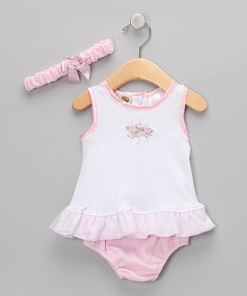 Pink & White Polka Dot & Flower Set