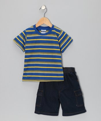 Blue Stripe Tee & Denim Shorts - Infant & Toddler