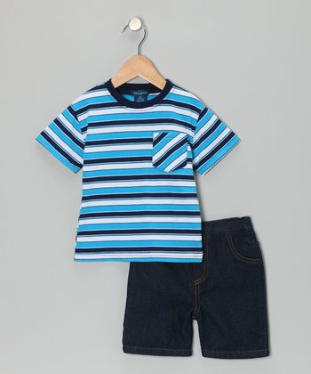 Teddy Boom Blue Stripe Pocket Tee & Denim Shorts - Infant & Toddler