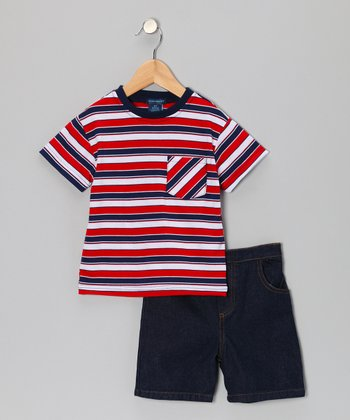 Teddy Boom Red Stripe Pocket Tee & Denim Shorts - Infant & Toddler