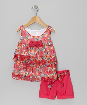 Fuchsia Flower Top & Shorts - Girls