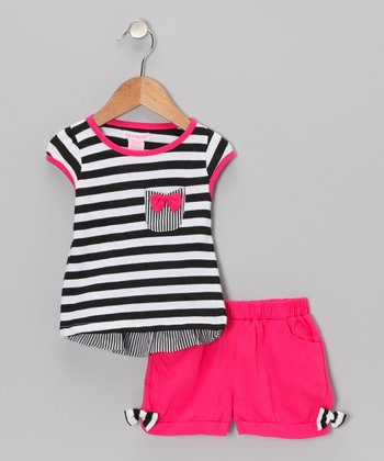 Fuchsia & Black Stripe Top & Shorts - Toddler