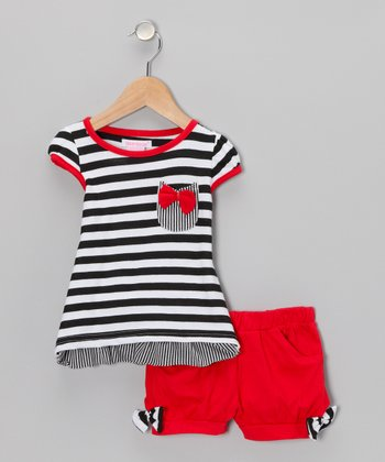 Red & Black Stripe Top & Shorts - Toddler