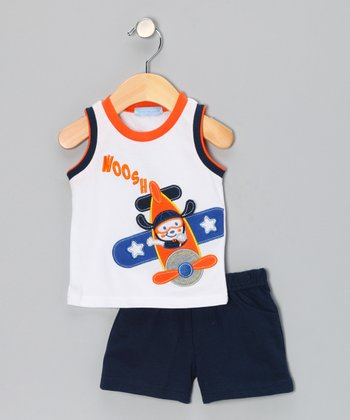 Navy 'Woosh' Tank & Shorts - Infant