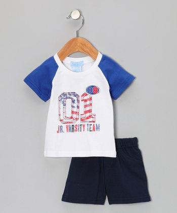 Royal Blue 'Varsity' Tee & Shorts - Infant