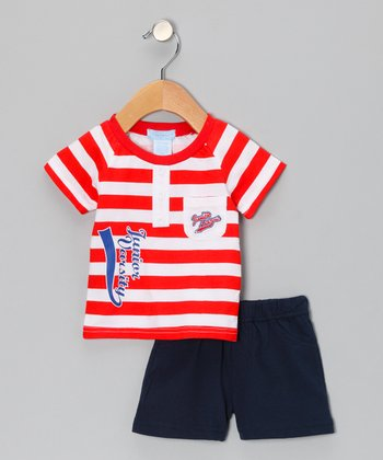Red Stripe 'Varsity' Tee & Shorts - Infant