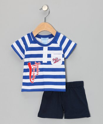 Royal Stripe 'Varsity' Tee & Shorts - Infant